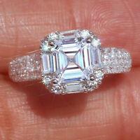 2.65CT Asscher-Cut Diamond Engagement-Wedding Solid 14k White Gold Ring