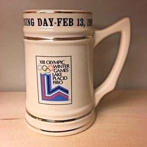 VTG Olympic Winter Games Stein Mug 1980 Lake Placid Opening Day 1216/1980 HTF