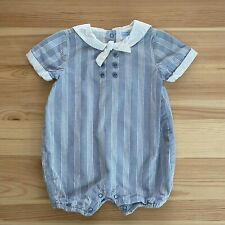 JANIE AND JACK Sailor Jack Blue Striped Romper Outfit Size 3-6 Months