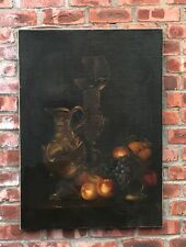 Signed 1924 Classic Dutch Still Life Oil Painting. Wine Ewer Goblet & Fruit