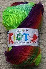 King Cole Riot DK Self Striping Striped Rainbow Knitting Wool Yarn 100g Neon 239