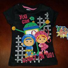 Team Umizoomi Toddler Girl Black Shirt Top Milli Geo Bot New 4T