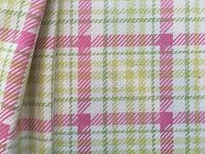 10 YARDS P KAUFMANN EUREKA SPRING PINK GREEN HOUNDSTOOTH PLAID FABRIC OUTLET