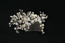 Silver Wedding Hair Comb Pearls Bridal Accessories Rhinestone Headpiece 1 Piece