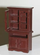 """Dollhouse Miniature Wood Kitchen Dining Room Hutch in Cherry finish top 5 1/2"""" t"""