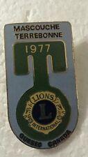 Lions Club Pin Mascouche  Terrebonne 1977 Quebec Canada Vintage