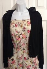 SIMPLY VERA WANG Cute Black Sweater Knit Cardigan w Ruffled Collar MEDIUM