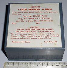 """BC728: Haut-Parleur 4"""" de rechange US WWII NOS en boite conserve - RARE"""