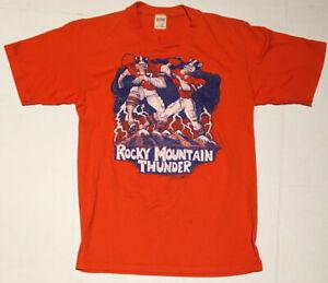 Vintage Denver Broncos Rocky Mountain Thunder Orange T-Shirt 1986