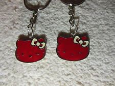 """Hello Kitty """""""" Red / silver tone """""""" Keychain Ring** Lot-of-2** Free Shipping"""