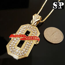 "NEW ICED OUT GOLD PT CZ STONES OVO 'O' PENDANT & 24"" BOX CHAIN HIP HOP NECKLACE"