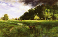 Oil art Thomas Moran - Summer Squall with cows cattles in summer landscape 36""