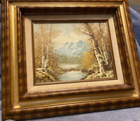 Mountain Fall Scene Oil Painting on Board Frame Signed by Artist C.Ogel