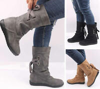 Women's Flat Mid-Calf Boots Martin Boots Autumn Winter Booties Shoes Plus Size