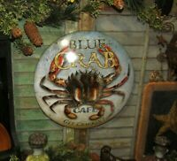 Prim Antique Vtg Style Blue Crab Cafe Ocean Sea Food Diner Round Dome Tin Sign