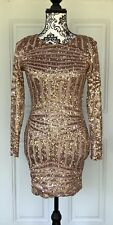 NWT Hello Molly Fashion Boutique Gold Sequins Long Sleeve Open Back Dress Club