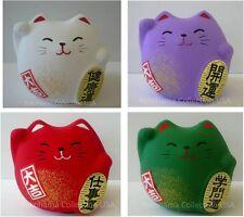 Set of 4 Japanese Maneki Neko Cat /Earthenware/White Purple Red Green Made Japan