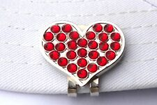 Heart Golf Ball Marker with Red Crystals and Magnetic Hat Clip