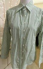 Perri Cutten sz 12 weekend Aust made shirt green stripe cotton work play quality