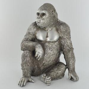 Gorilla with Antique Silver Finish Sculpture / Figurine.New