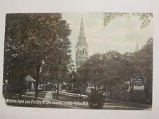 1909 Little Falls, NY postcard Western Park & Presbyterian Church