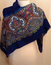 Gina Ruccini Mosaic Blue Multi Color Tie Rack Italy Scarf Shawl Wrap Muffler