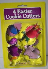 NW CUTTERS 4 pc Cookie Cutter Set Bunny CHICK Tulip EGG Metal Easter Bake PARTY