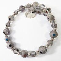 Alex & Ani Bracelet Vintage 66 Silver Gray Bead Wrap