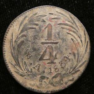 1834 Mexico 1/4 Real Copper KM 358 DB#1060 (144)