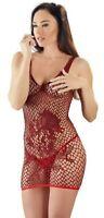 abito mini a rete e pizzo rosso lingerie sexy erotica per donna senza maniche fl