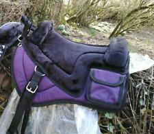 Purple  Treeless bareback saddle pad, adjustable shims Iberian western Vegan