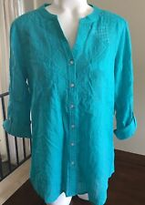 JM Collection Blouse Embroidered V Neck Button Front Aqua Small