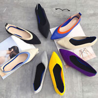 Women's Pointed Toe Flats Work Shoes Lady Stretch Knitted Breathable Loafers