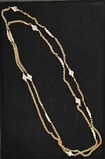 """Vintage Chanel c1984 Long 63"""" Sautoir Necklace Pearls Crystals Gold Signed Auth"""