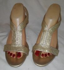 FIONI NIGHTS GOLD HIGH HEEL SHOES SIZE 8W