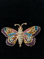 Vintage Roman Signed Gold Rainbow Rhinestone Crystal Butterfly Brooch Pin