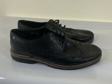 BASE LONDON black real genuine leather brogue shoes size 7 euro 40