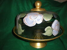 HAND PAINTED WHITE CABBAGE ROSES/GOLD CAKE PLATE/PUNCH BOWL(MADE IN THE USA)