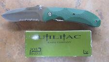 ONTARIO JOE PARDUE UTILITAC GREEN ZYTEL HANDLE SATIN SERRATED W BOX 8786 JPT-2S