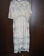 ZARA Ecru Vintage Lace Dress With Applique Large Boho Festival T Top Lace