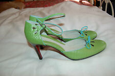 Hilfiger Green Leather Ankle Strap Heels Shoes Size 9 1/2 M
