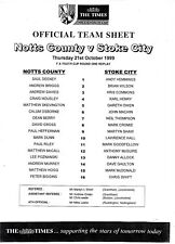Teamsheet - Notts County Youth v Stoke City Youth 1999/2000 FA Youth Cup