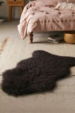 "Urban Outfitters Mazzy Charcoal Faux Fur Shaped Shag Rug 2 x 4"" New"