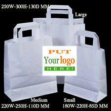 More details for customised medium white strong  - paper bags, full colour  laser print 10 pack