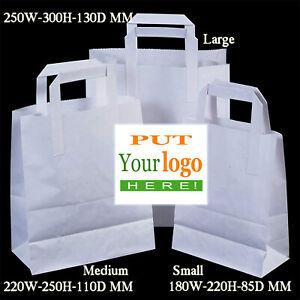 CUSTOMISED White Strong  - Paper Bags, Full Colour  Laser Print 10 Pack