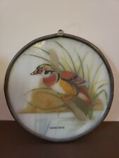 """Vintage Wood Duck Stained Glass Painted Hanging Sun Catcher 5.5"""""""