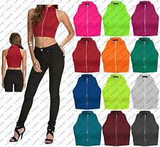 New Womens Girls Polo Zip Turtle Neck Crop Top Vest Tee T Shirt Size 8 10 12 14