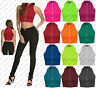 New Womens Girls Polo Zip Turtle Neck Crop Top Vest Tee T Shirt Size 8 10 12 14