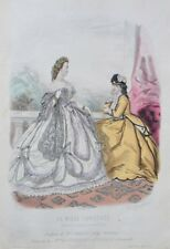 Lithograph with watercolor xix-Fashion illustrée-hairstyles mr. croisat