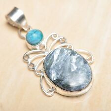 "Handmade Russian Seraphinite Gemstone 925 Sterling Silver Pendant 2"" #P16707"